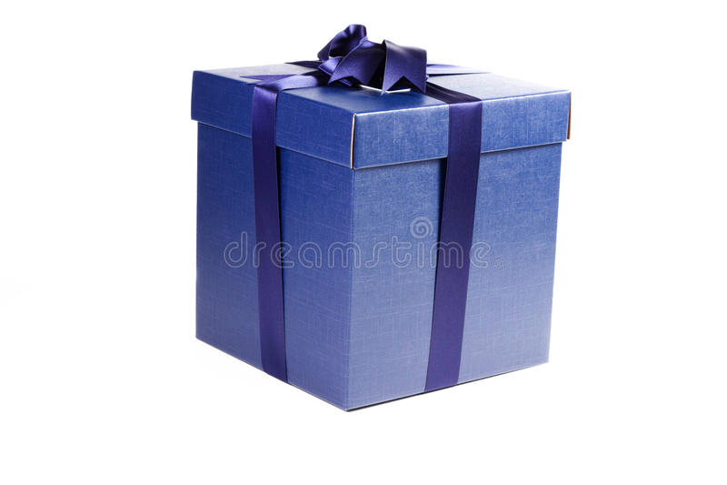 Blue present box stock photo
