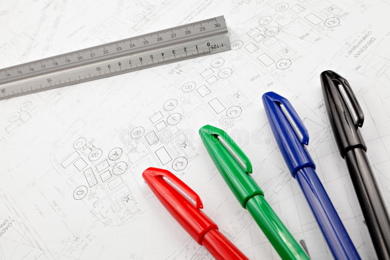 Blue print drawing stock photography