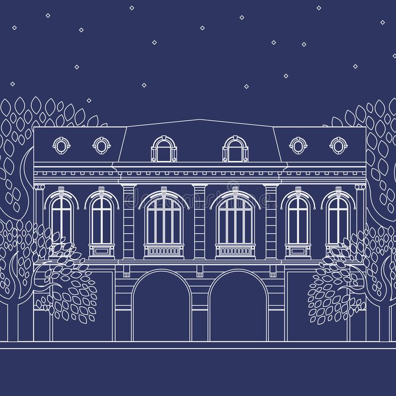 Blue print house. Detailed big house drawing on blue print. It is a historic building from Bucharest, Romania from early 20th century vector illustration