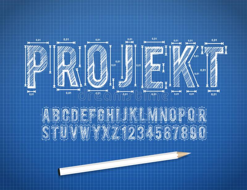 Blue Print sketch font. In format royalty free illustration