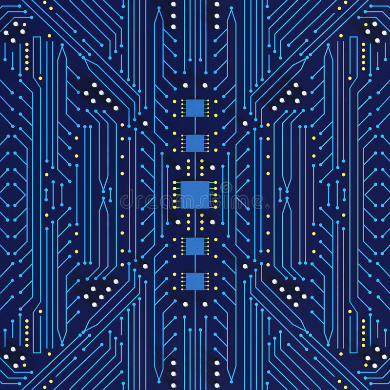 Blue Printed Circuit Board With Detailed Network Texture 3D Illu ...