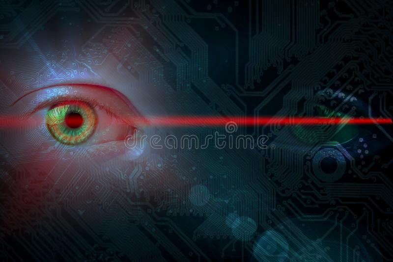 Data eye with technical background and laser light. One eye glows on a cirvuit board pattern with copy space for your text royalty free stock image