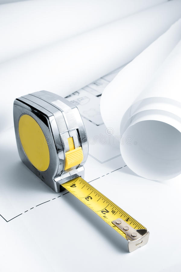 Download Blue Prints With Measuring Tape Stock Image - Image: 11184363