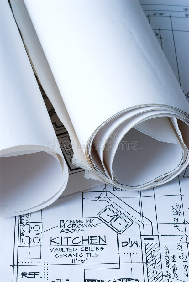 Blue Prints of New Home stock image
