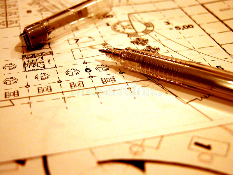 Blue prints in retro style stock image