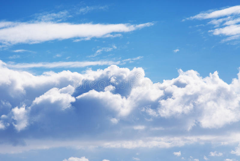 Blue puffy cloud sky stock photography