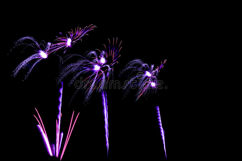 blue and pupple colors fireworks - beautiful colorful firework royalty free stock images