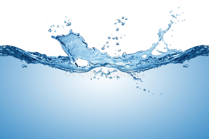Blue pure water wave splash. Blue fresh pure water wave splash texture background isolated on white royalty free stock photos