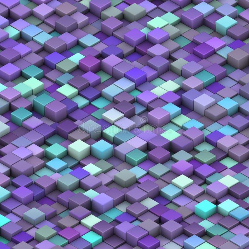 Blue purple beveled cubes in 3d stock illustration