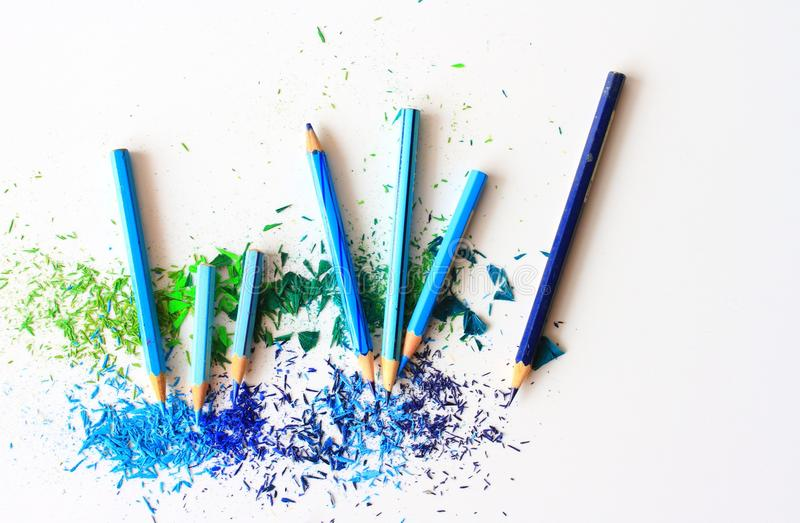 Blue and Purple Color Pencils stock images