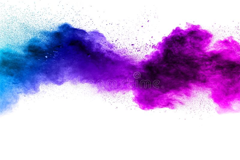 Blue-Purple color powder explosion cloud isolated on white background. Closeup of Blue-Purple dust particles splash isolated on background royalty free stock photos