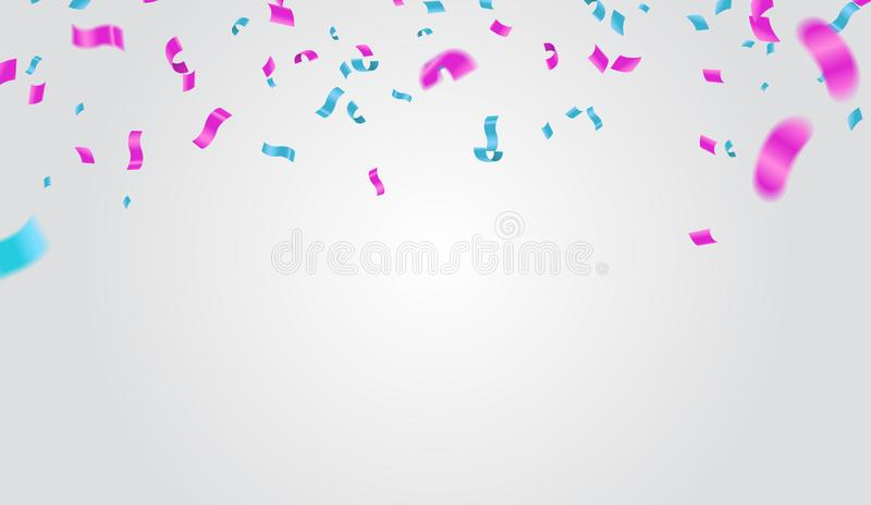 Blue and purple confetti, serpentine or ribbons falling on white stock illustration