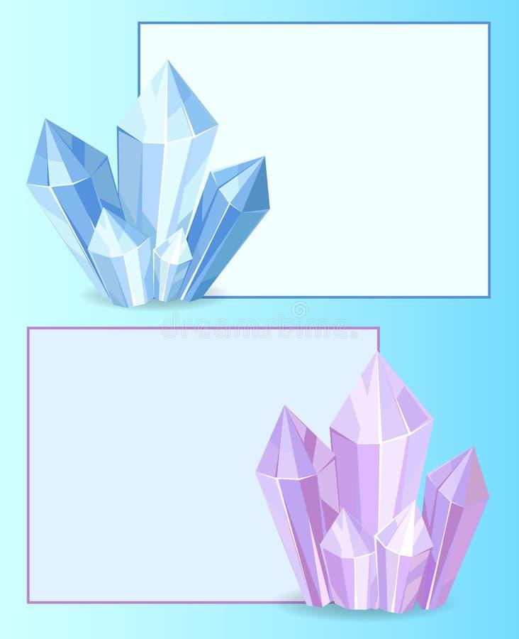 Blue and Purple Crystals Gemstones Organic Mineral royalty free illustration
