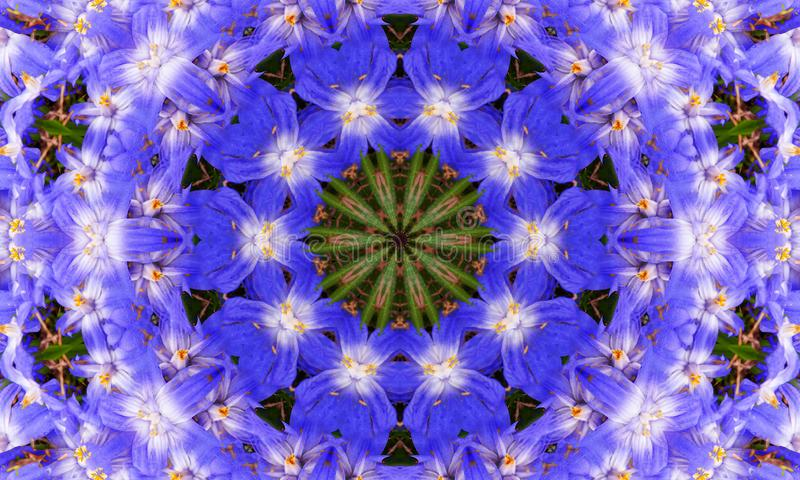 Blue/Purple flower-shaped mandala Art royalty free illustration