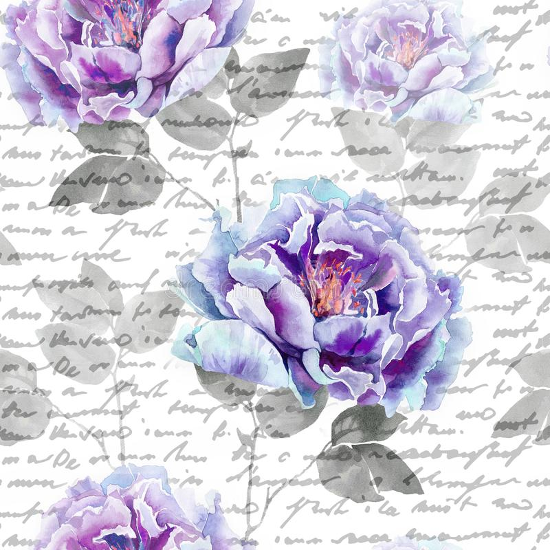Green small leaves watercolor seamless pattern on black background.Blue and purple flowers of peony. Seamless flower pattern for t vector illustration