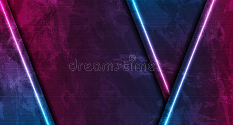 Blue and purple neon laser lines on grunge luminous wall background vector illustration