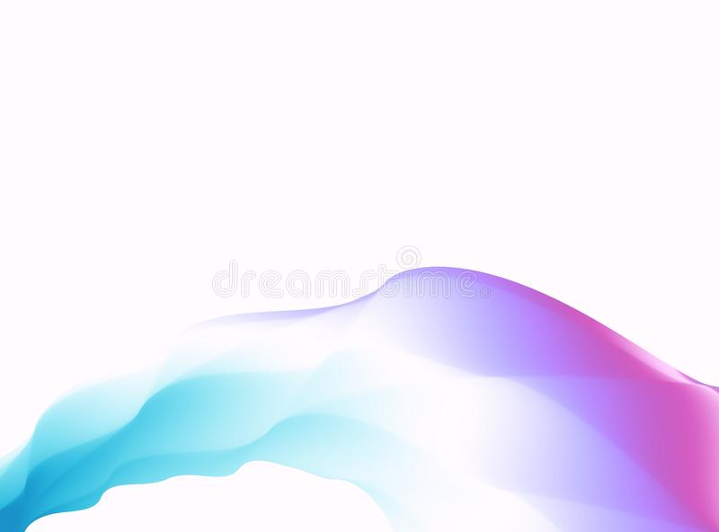 Blue purple pink abstract fractal background. Colorful waves on white backdrop. Bright modern digital art. Creative graphic templa stock illustration