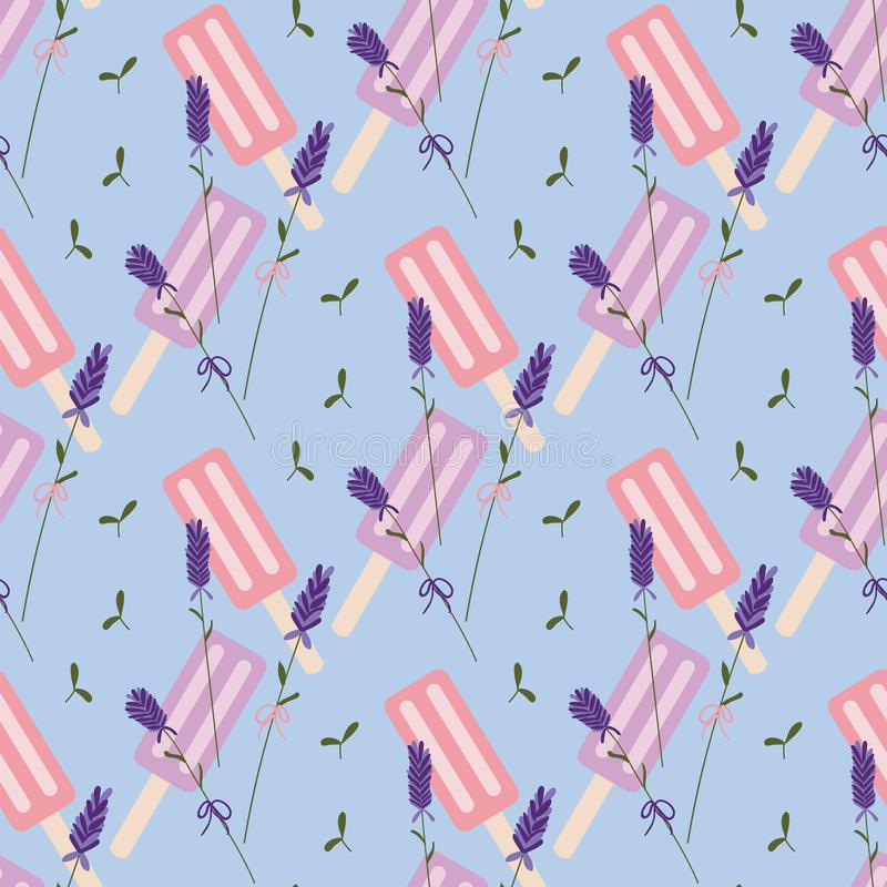 Blue, purple and pink lavender popsicle seamless pattern. vector illustration