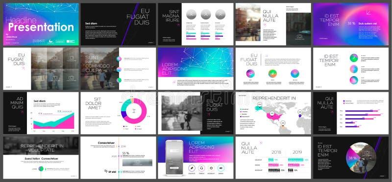Blue purple pink presentation templates elements on a black background. stock illustration