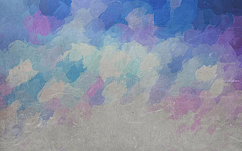 Blue, purple and white metallic etched background. Blue, purple and metallic etched background illustration. Paint blotches of different colors royalty free illustration