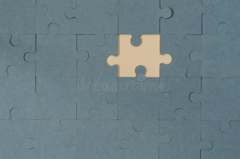 Blue Puzzle with Missing Piece stock photos