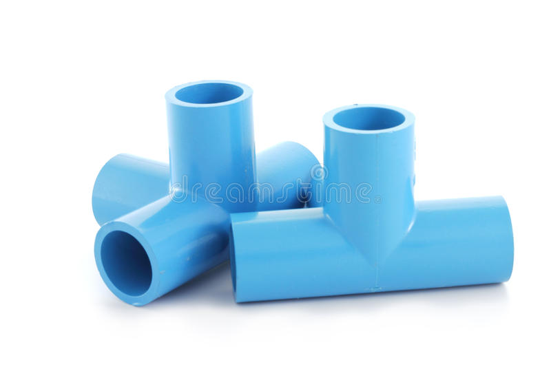 Blue pvc pipe connection stock image of plant
