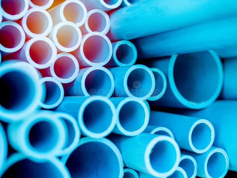 Blue PVC pipes stock photo