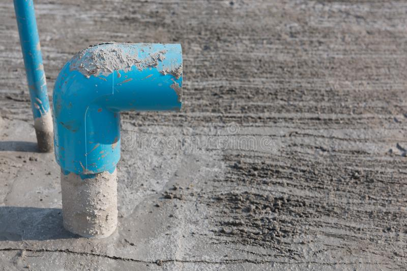 Blue pvc wate pipe at construction site royalty free stock images