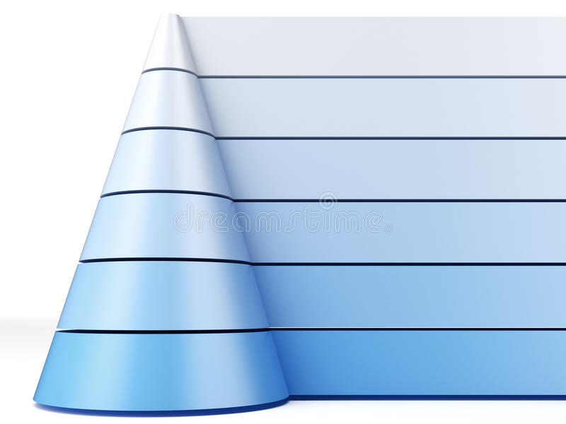Blue pyramid chart. Isolated on a white background vector illustration