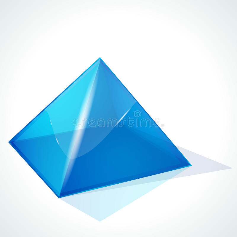 Blue pyramid on white background stock illustration