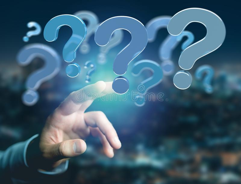 Blue question mark displayed on a futuristic interface - 3d rend. View of Blue question mark displayed on a futuristic interface - 3d rendering stock images
