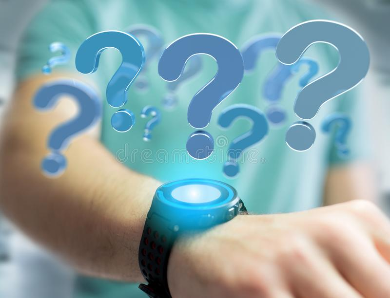 Blue question mark displayed on a futuristic interface - 3d rend. View of Blue question mark displayed on a futuristic interface - 3d rendering royalty free stock photos