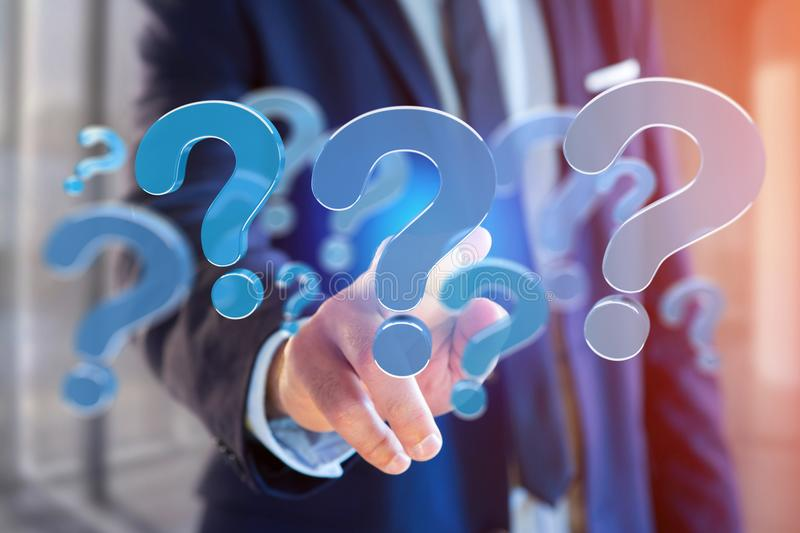 Blue question mark displayed on a futuristic interface - 3d rend. View of a Blue question mark displayed on a futuristic interface - 3d rendering stock photos