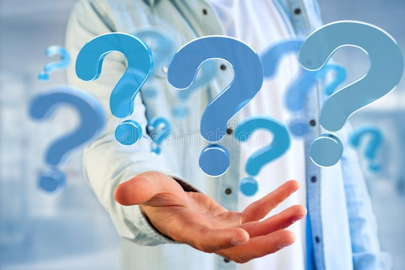 Blue question mark displayed on a futuristic interface - 3d rend. View of a Blue question mark displayed on a futuristic interface - 3d rendering royalty free stock images