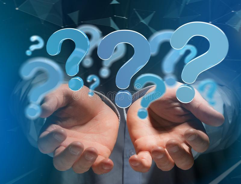 Blue question mark displayed on a futuristic interface - 3d rendering. View of Blue question mark displayed on a futuristic interface - 3d rendering stock images