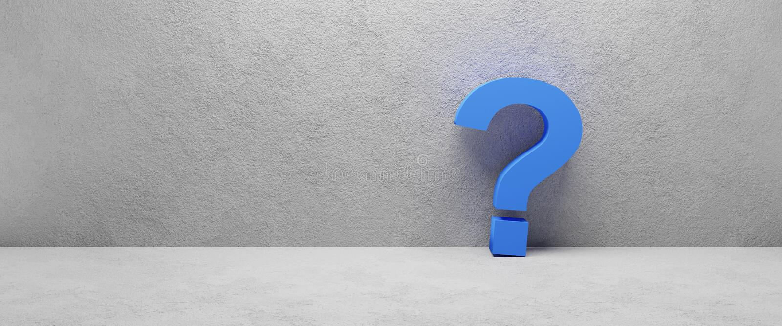 Blue question mark laying at concrete wall - cgi 3d render image. Illustration stock illustration