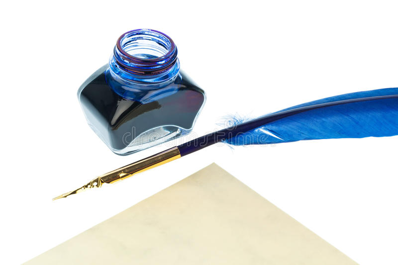 Blue quill stock image