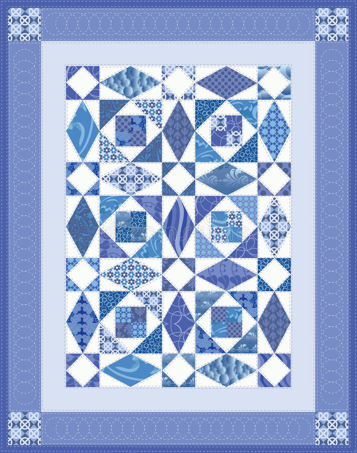 Blue Quilt. Storm at Sea mini quilt in blue royalty free illustration