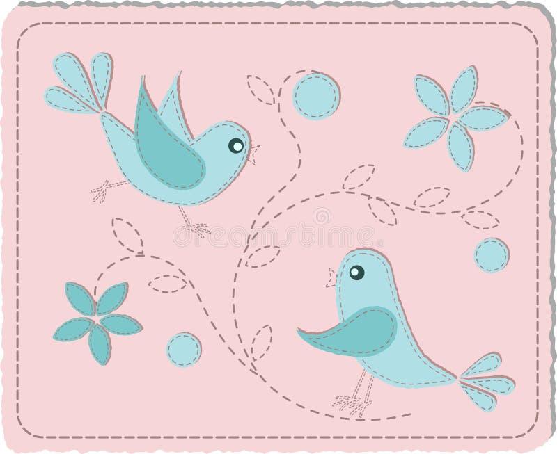 Download Blue quilted birds stock vector. Illustration of illustration - 19845079