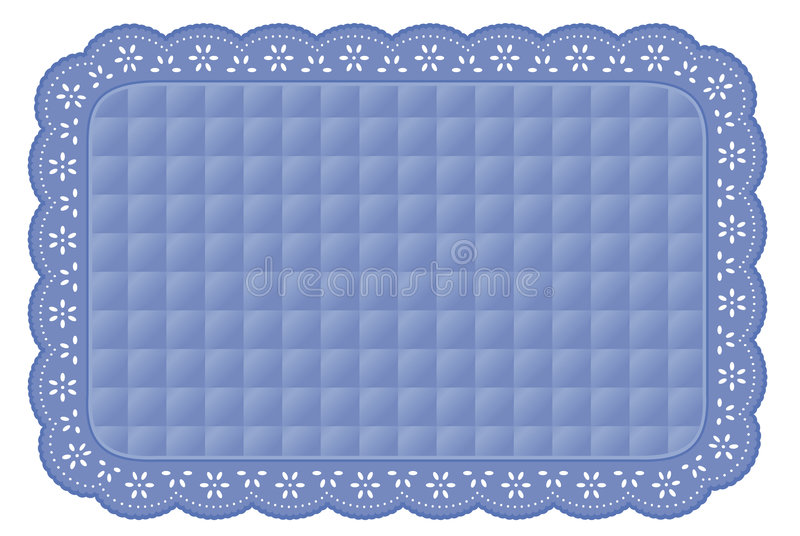 Blue Quilted Eyelet Lace Place Mat royalty free illustration