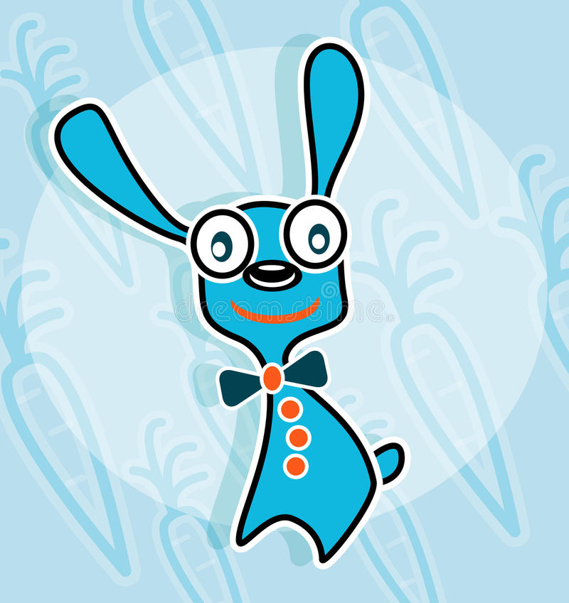 Blue Rabbit With Bow Tie Stock Images