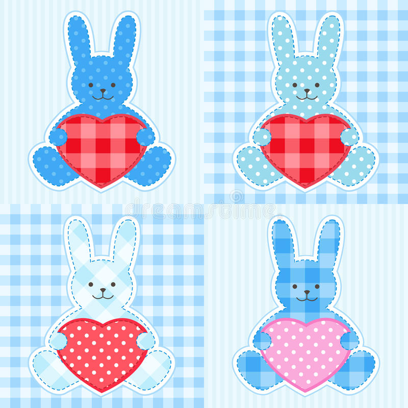 Blue rabbits cards vector illustration