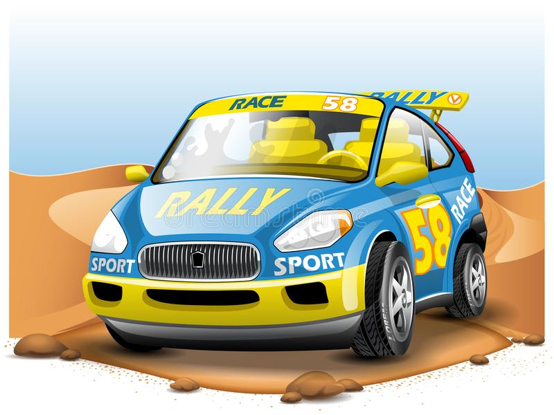 Blue Race Car on Desert background. In Cartoon Style. royalty free illustration