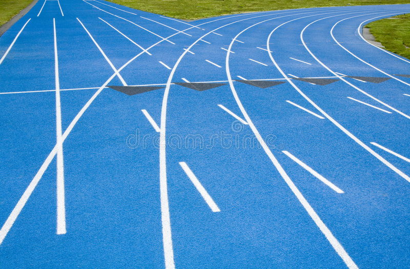 Blue Race Track Course Diverging into Straight,Arc royalty free stock image