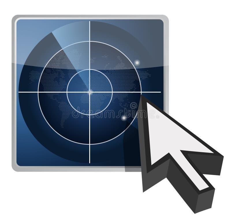 Blue radar button illustration and cursor stock illustration
