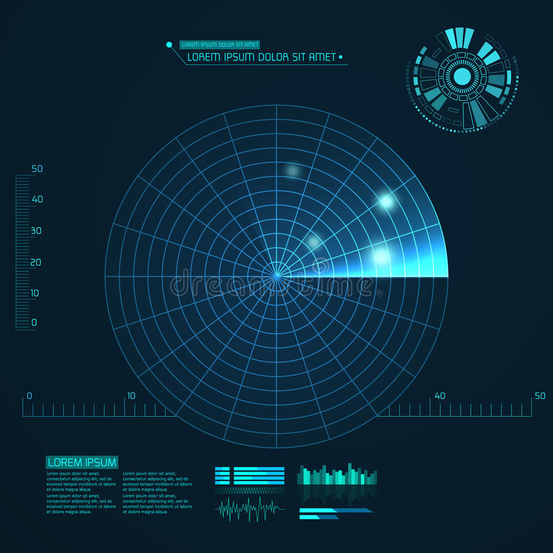 Blue radar screen. Vector illustration for your design. Technology background. Futuristic user interface. HUD. Vector illustration vector illustration