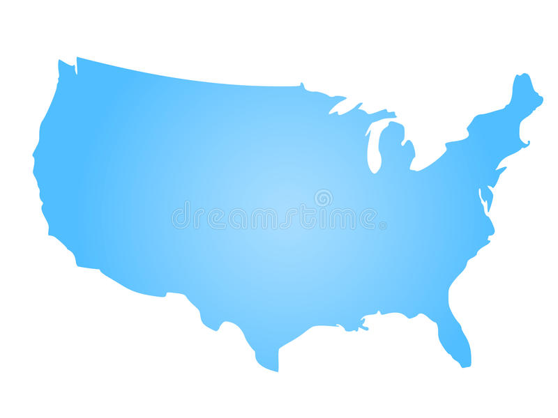 download blue radial gradient silhouette map of united states of america aka usa vector