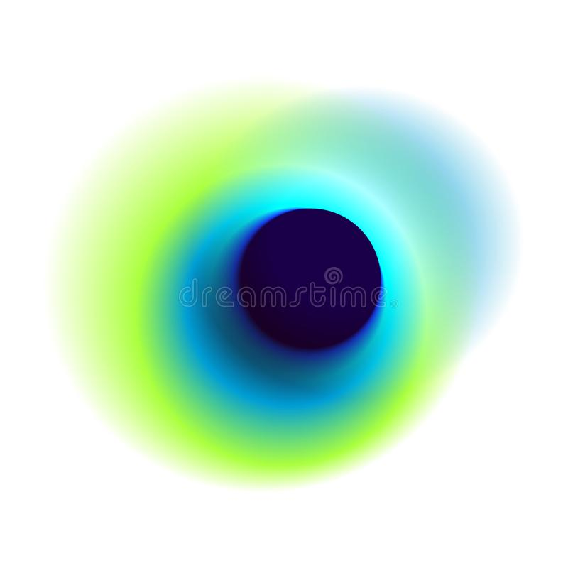 Blue radial hole with round peacock colored texture. Green gradient circle isolated on white background. Turquoise blurred hole ve. Ctor pattern royalty free illustration