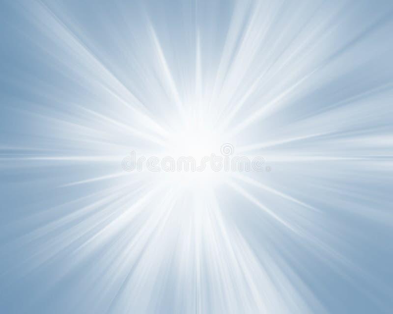 Blue soft radiant background banner. Blue radiant background banner, light rays on blue sky. Morning sun background royalty free illustration