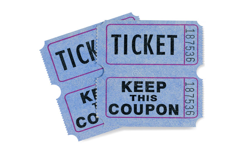 Blue raffle tickets with coupon attached, white background stock images